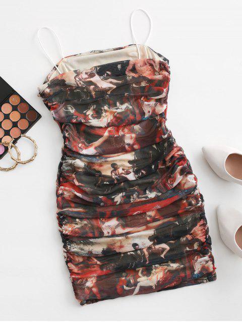 Dieses Bodycon Kleid mit Spaghettibügeln und Rüschen - Multi L Mobile