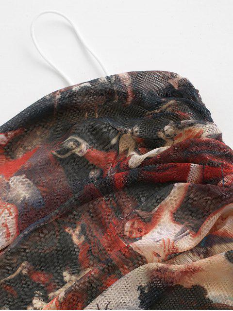 latest Statue Print Renaissance Ruched Bodycon Dress - MULTI XL Mobile