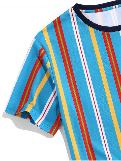 chic ZAFUL Vertical Striped Print Round Neck Tee - BLUE 2XL Mobile