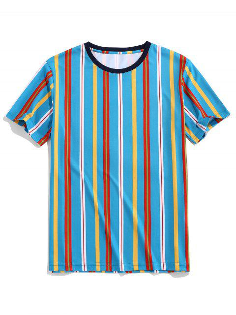 ZAFUL Vertical Striped Print Round Neck Tee - أزرق 2XL Mobile