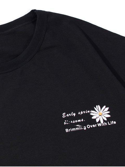 T-Shirt Basic con Motivo di Fiori e Lettere - Nero XS Mobile
