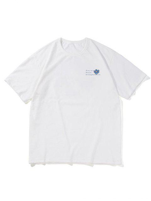 buy Flower Letter Pattern Basic T-shirt - WHITE XS Mobile