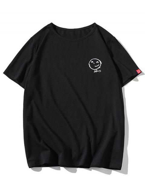 Camiseta Suelta Estampada Manga Corta Cuello Redondo - Negro XS Mobile