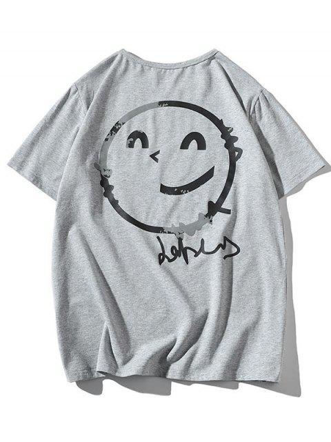 T-shirtDécontractéFigureGraphiqueàColRond - Gris S Mobile