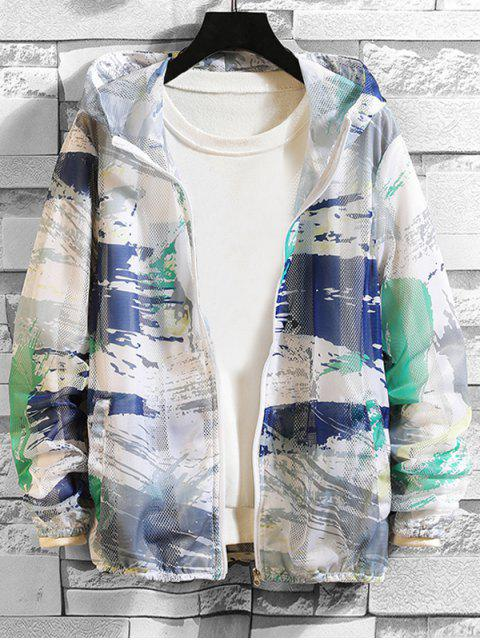 outfit Paint Printed Sunproof Mesh Hooded Jacket - GREEN S Mobile