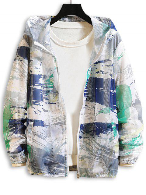 shop Paint Printed Sunproof Mesh Hooded Jacket - GREEN L Mobile
