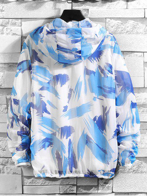 Jaqueta de capuz à prova de Sol de Malha com Padrão de Splatter - Azul XS Mobile