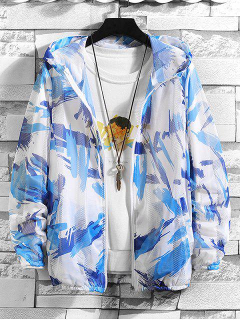 best Paint Pattern Mesh Sunproof Hooded Jacket - BLUE S Mobile