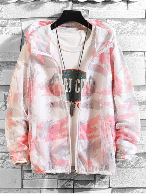 outfits Paint Pattern Mesh Sunproof Hooded Jacket - PINK M Mobile