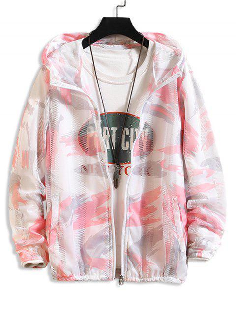 shop Paint Pattern Mesh Sunproof Hooded Jacket - PINK L Mobile