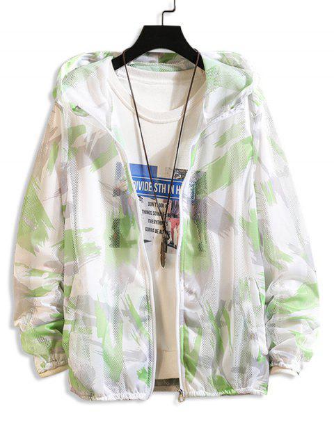 trendy Paint Pattern Mesh Sunproof Hooded Jacket - GREEN M Mobile