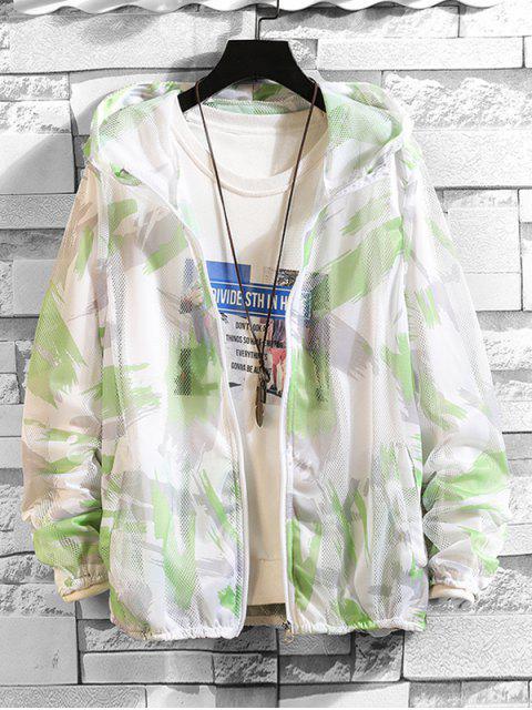 fashion Paint Pattern Mesh Sunproof Hooded Jacket - GREEN L Mobile