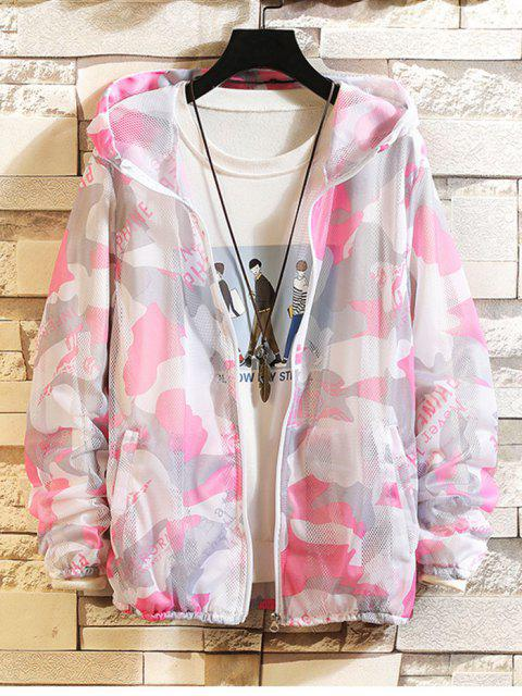 womens Camouflage Letter Print Sunproof Mesh Hooded Jacket - PINK S Mobile