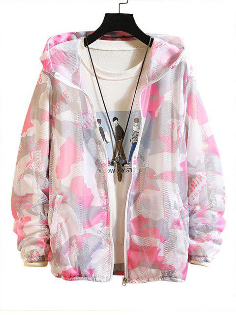 women Camouflage Letter Print Sunproof Mesh Hooded Jacket - PINK M Mobile