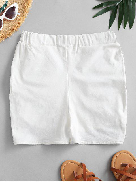 new Ruched Dolphin Hem Casual Shorts - WHITE ONE SIZE Mobile
