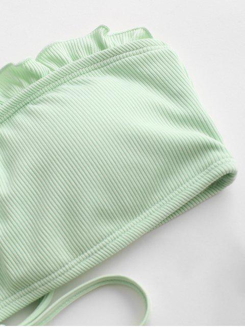 fashion ZAFUL High Cut Frilled Bandeau Ribbed Bikini Swimwear - MINT GREEN S Mobile