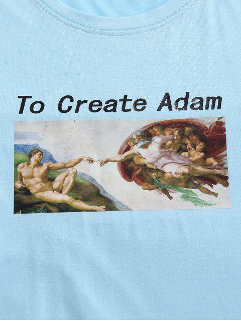 T-Shirt Basic con Collo Alto di ZAFUL - Azzurro XL Mobile