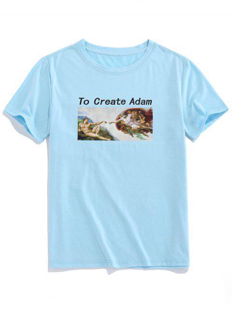 ZAFUL Create Adm Renaissance Print Basic T-shirt - أزرق فاتح 2XL Mobile