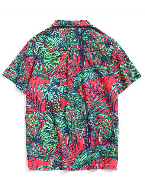 Vacation Tropical Leaf Print Pocket Patch Shirt - متعددة-B 2XL Mobile