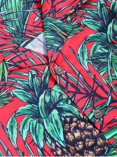 Urlaub Tropischer Blattdruck Taschen Patch Hemd - Multi-B XS Mobile