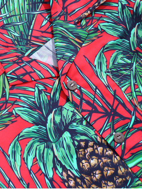 sale Vacation Tropical Leaf Print Pocket Patch Shirt - MULTI-B XS Mobile