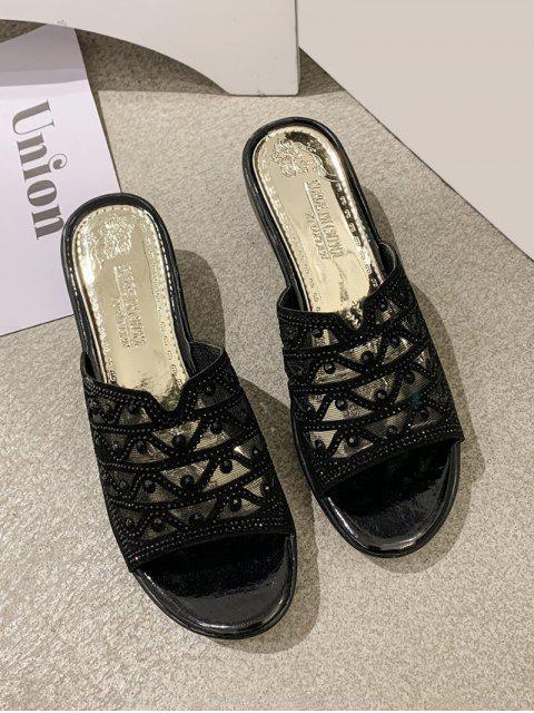 shop Mesh Rhinestone Wedge Slides Sandals - BLACK EU 40 Mobile