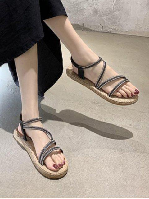 Sandales Plates à Bout Ouvert avec Strass - Noir EU 40 Mobile
