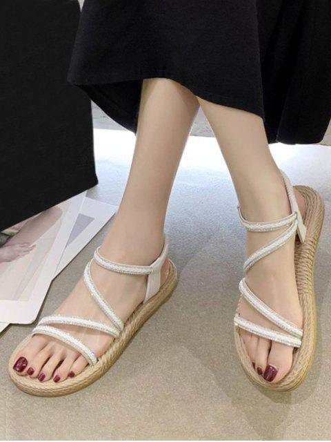 trendy Open Toe Rhinestone Flat Sandals - WHITE EU 40 Mobile