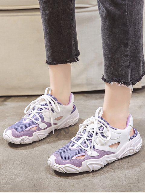 best Patchwork Lace Up Sports Sandals - PURPLE AMETHYST EU 39 Mobile