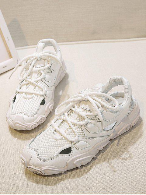 women Patchwork Lace Up Sports Sandals - BEIGE EU 40 Mobile