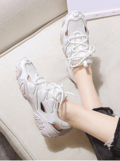 womens Patchwork Lace Up Sports Sandals - BEIGE EU 39 Mobile