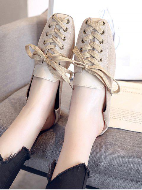 lady Lace Up Patchwork Leisure Shoes - BEIGE EU 40 Mobile