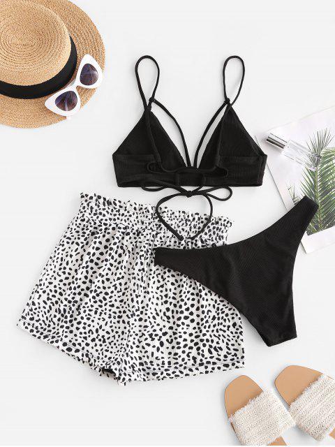 ZAFUL Leopard Ribbed Strappy Three Piece Bikini Swimwear - أسود M Mobile