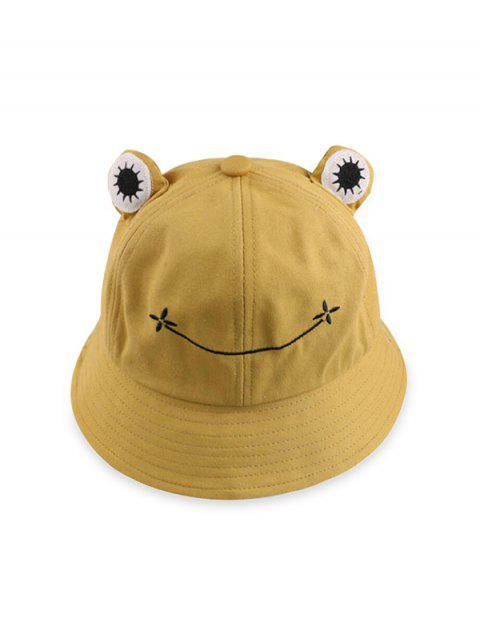 Cute Frog Casual Bucket Hat - اصفر غامق  Mobile