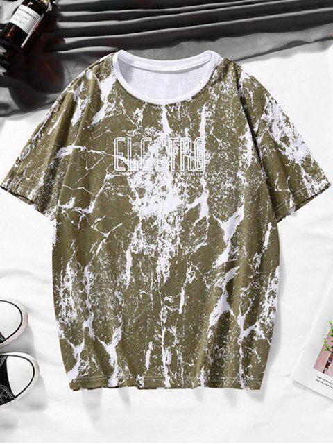 Camiseta Casual de Impressão de Carta de Mármore - Verde de Pinho XS Mobile