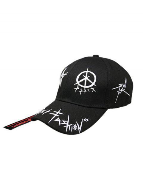 Gorra de Béisbol Ajustable de Estampado de Pájaros - Negro  Mobile