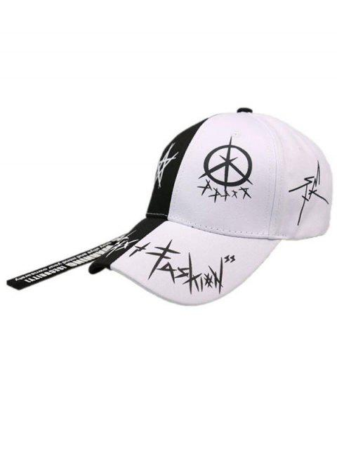 buy Star Grafitti Print Adjustable Baseball Cap - WHITE  Mobile