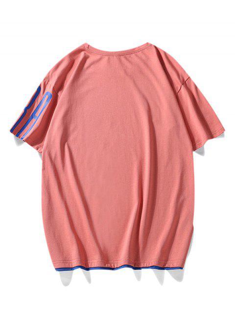 Camiseta con Texto Contraste Estampado de Letras - Rosa Roja M Mobile