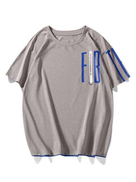T-shirt Lettre Imprimé à Ourlet Contrasté - Gris Clair 3XL Mobile