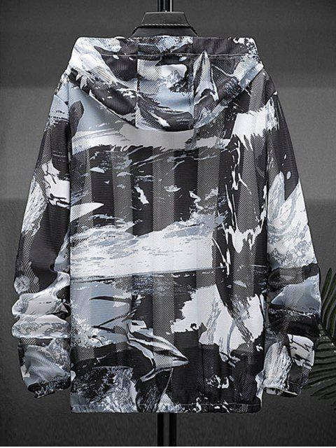 outfit Paint Print Sunproof Mesh Hooded Jacket - GRAY M Mobile