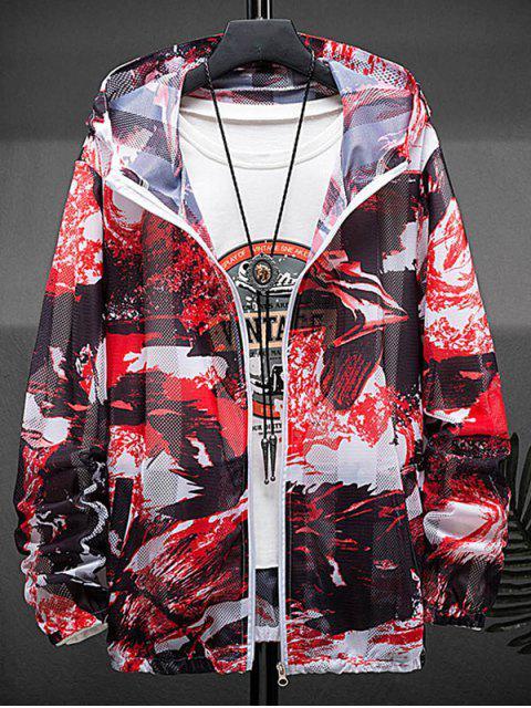 fancy Paint Print Sunproof Mesh Hooded Jacket - RED M Mobile