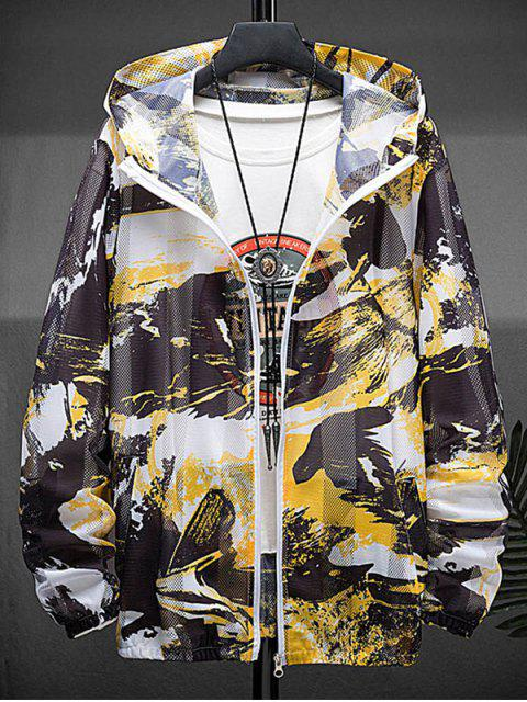 buy Paint Print Sunproof Mesh Hooded Jacket - YELLOW M Mobile