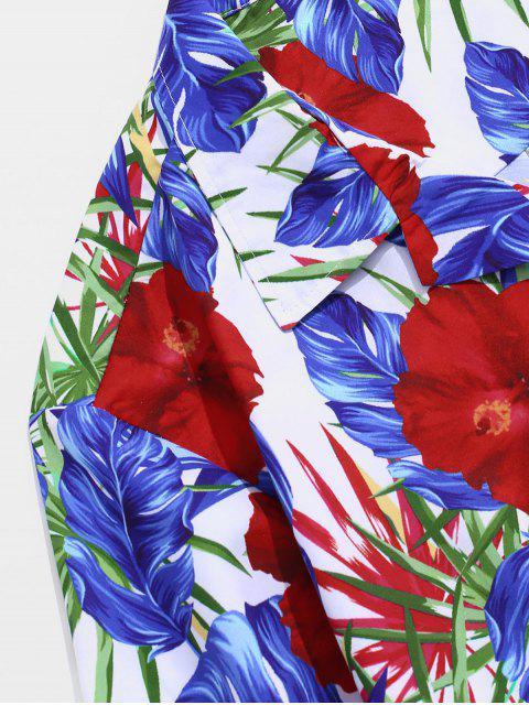 online Wildflower Print Pocket Hawaii Button Up Shirt - MULTI XS Mobile