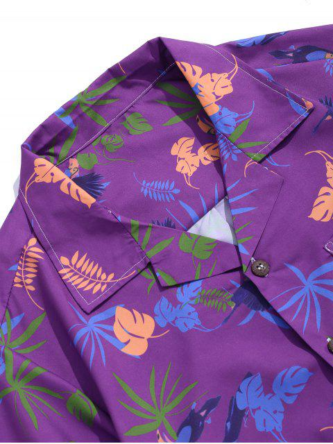 women's Tropical Plant Print Pocket Vacation Shirt - MULTI-A XS Mobile