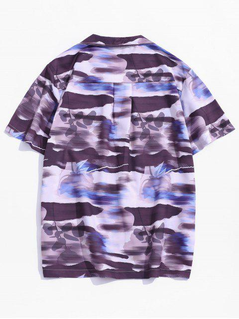 trendy Pocket Patch Print Vacation Shirt - MULTI-A XS Mobile