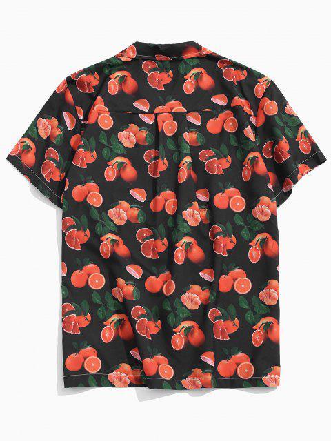 trendy Orange Pattern Pocket Vacation Shirt - MULTI XS Mobile
