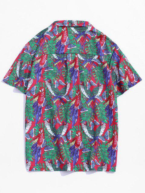 Butterfly Parrot Print Pocket Beach Button Up Shirt - Multi 2XL Mobile