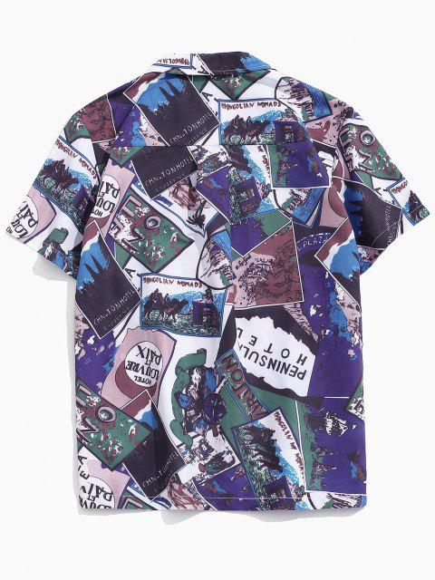 chic Letter Pattern Block Pocket Beach Short Sleeve Shirt - MULTI XS Mobile