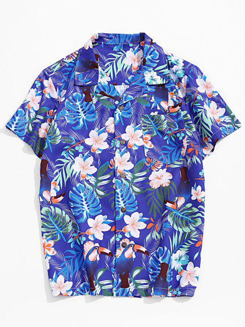 womens Flower Leaf Tropical Print Pocket Vacation Shirt - MULTI-A XS Mobile