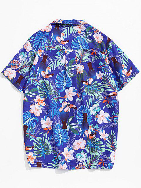 women's Flower Leaf Tropical Print Pocket Vacation Shirt - MULTI-A M Mobile